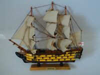 Large  Model H.M.S Victory Ship On Stand Made From Wood Lots Of Detail War Ship