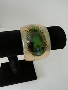 Chunky Bangle Bracelet Arty Smooth Statement Retro Stacking Peacock Feather Wide