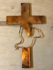 Cross with Dove Patina Finish Metal Wall Art Hanging