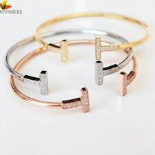 Open Double T Armreif Armband Gold GRößenverstellbar New York Blogger