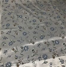 Satin Poly Acetate Blend Gray Floral Leaf Print Fabric 6 Yards By 60 Inch Wide