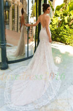 White/Ivory Wedding Dress Lace Mermaid Bridal Ball Gown Custom Size 12 14 16 18+
