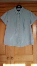 M&S Ladies Blue Striped Cotton Blend Shirt, size 20