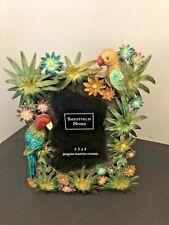 "Nwot Sheffield Home ""Parrots� Enamel & Austrian Crystal Frame For 4� X 6 "" Photo"
