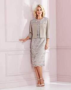 NIGHTINGLAES Mocha Lace Dress & Jacket    UK 12   US 8    EUR 40    (FS106-9)