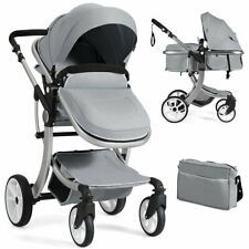 Folding Aluminum Infant Bassinet Reversible Baby Stroller W/ Diaper Bag Grey
