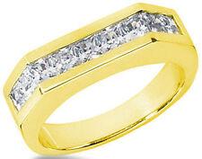 1.97 carat total Princess cut Diamond Ring Mens 14k Yellow Gold Band SI1 clarity