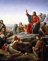 Jesus Christ's Sermon On The Mount Beatitudes Bible Painting Art Canvas Print