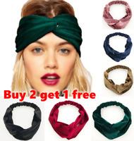 Shimmer Velvet Twist Knot Headband Stretchy Elastic Wrap Turban Hair Band Plain