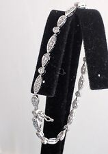 "Sterling Silver 925 Bracelet,Cubic Zirconia Stones, Tongue,7"" length"