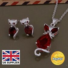 Cat Necklace Earrings Jewellry Set Cute Cat 925 Sterling Silver 2017 New