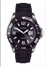 Sekonda Original Gents Black Party Time Quartz Analogue Silicone Watch 3361 New