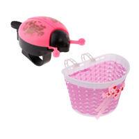 Girls Bicycle Flower/Shopping Basket & Bell Ring f/ Children Kids Bike Cycle