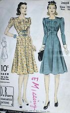 Vtg 1940s DuBarry 2483 Flared Skirt Midriff Button Trim Dress Sewing Pattern 18