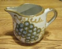 "Vintage Louisville Stoneware Kentucky Pottery Grapes Pitcher 5 1/4"" X 7 3/4"""
