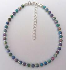"""Rainbow Stardust Bead Ankle Bracelet Anklet 9"""" With Extender Chain Sparkly"""