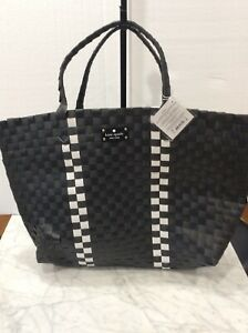 Kate Spade NY Logo Large Woven Black/White Tote Weekender Bag, NEW W Tag- 4 left