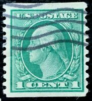 US Stamp SC #443 1c Green Washington Used CV:$45