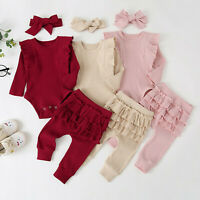 Toddler Kids Baby Girl Solid Ruffle Romper Ruffle Pants + Headbands Outfits