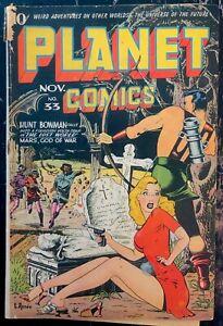 PLANET COMICS #33 GD+ Classic cover!