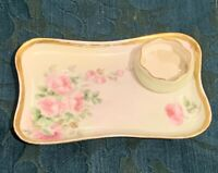 Limoges, 2-Piece, Hand Painted Vanity/Dresser Soap Tray and Small Trinket Bowl