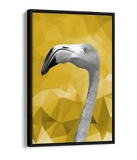 MUSTARD GEO FLAMINGO -FLOAT EFFECT CANVAS WALL ART PIC PRINT- BLACK & WHITE