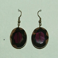 * Antique * Gold Tones faceted Purple Glass Drop Earrings hook