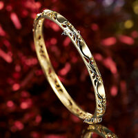 9K GF SOLID YELLOW GOLD FILIGREE PATTERN BANGLE BRACELET SYDNEY STOCK