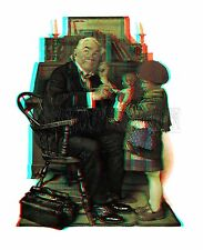 Doctor and the Doll Child Girl Norman Rockwell Saturday Evening Post 3D anaglyph