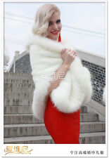 New Ivory Faux Fur Bride Shrug Bridal Stole Bolero Wedding Cape Shawl Wrap Coat