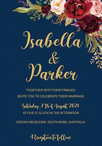 1 x Personalised Wedding Invitation Cards Custom Wedding Card Invites Guests