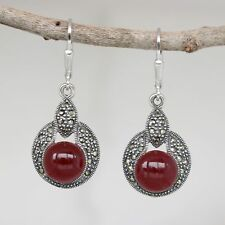 Sterling Silver 925 Marcasite & Red Agate Leverback Drop Earrings  LAST PAIR