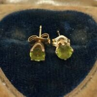 14k Gold Estate Vintage Earrings Studs Peridot Gemstone Green Yellow