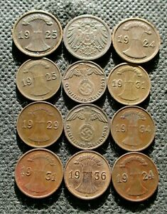 LOT OF OLD COINS OF GERMANY (EMPIRE-WEIMAR REPUBLIC-THIRD REICH) - MIX 733