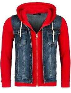 Rerock Herren Kombi-Jacke Jeansweste-Sweatjacke Jeansjacke JK-459 dunkelblau-rot