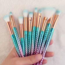 10pcs Fashion Beauty Blue Mermaid Shadow Soft Cosmetic Makeup Brush Set Kit