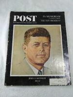LOT OF 3 JOHN F KENNEDY MAGAZINES (2 LIFE; 1 SATURDAY EVENING POST) 1963 & 1964