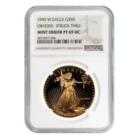 1990 W 1 oz $50 Proof Gold American Eagle NGC PF 69 UCAM Mint Error (Obv Struck