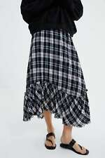 ZARA PLAID SKIRT WITH RUFFLES NWT ASSYMETRICAL SIZE XS