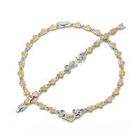 3 Tone Heart Hugs & Kisses I Love You Necklace Bracelet Set Stainless Steel SB