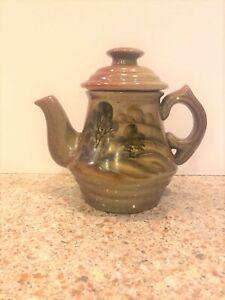 "Small Decorative Russian Ceramic Teapot 6 1/2"" H"