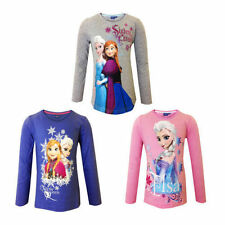 New girls licensed Disney Frozen t-shirts Anna and Elsa long sleeve crew neck