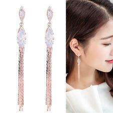 Fashion Women Zircon Crystal Long Tassel Drop Dangle Ear Stud Earrings Jewelry