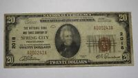 $20 1929 Spring City Pennsylvania PA National Currency Bank Note Bill Ch. #2018
