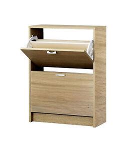 Shoe Storage Cupboard Cabinet Rack White Gloss Mirrored Black Brown Oak Unit New
