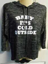 4c759c416d5 Juniors Small Lightweight Hoodie  Baby It s Cold Outside  Black Marbled ...