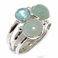 Aquamarine Natural Gemstone Handmade 925 Sterling Silver Ring Size 6.5 R-139