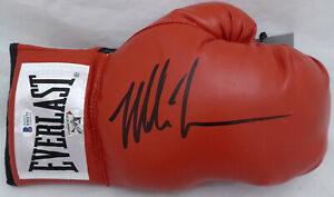 MIKE TYSON AUTOGRAPHED RED EVERLAST BOXING GLOVE RH IN BLACK BECKETT 182689