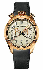 Bomberg Men's NS44CHPPK-209-9 BB-68 Racer 44mm White Dial Leather Watch