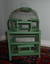 Old Antique Vintage Wood Wire Folk Art Bird Cage Original Green Paint French